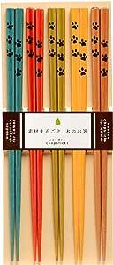 KAWAI适合来客使用的日本制用餐筷子 5双装 B 猫手 103211