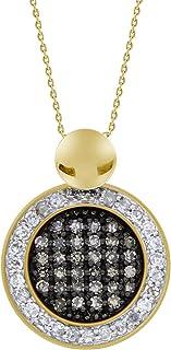 10K 黄金白褐色钻石圈组吊坠带 45.72 厘米项链(总重 1.27 厘米,H-I 和 L-M 颜色,I2-I3 净度)