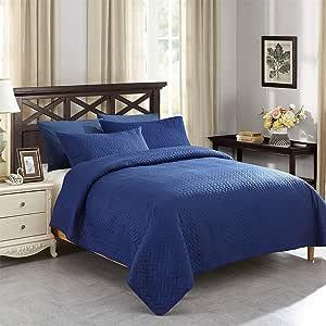 Jml 被子套装,3 件套纯色床罩 - 柔软拉绒超细纤维,轻质低*性松木床单套装
