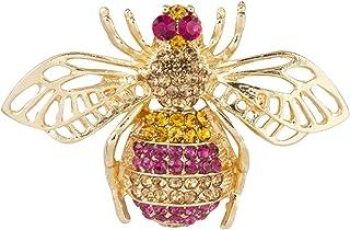 Knighthood Golden Bee 带宝石镶嵌翻领别针 男女适用 LP-44