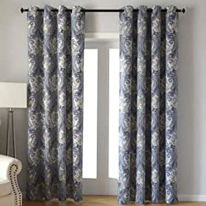 """Kotile 金属扣眼顶遮光窗帘带设计印花,2 片隔热窗帘,适用于客厅 蓝色 52""""×84"""" KT015-M02"""