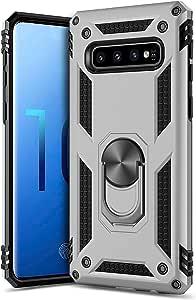 iPhone XR/X/XS/XS Max 和 Samsung 10+/10/10e/9+/9 混合装甲保护壳带环架 iPhone X/XS 银色