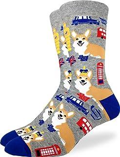Good Luck Sock Corgi's in London 男式袜子 - 灰色,成人鞋码 7-12