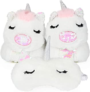 儿童可爱白色独角兽动物 3D 拖鞋,附赠配套的眼罩