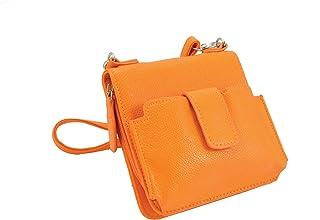 "Sanis Enterprises Orange Zip Closure Cross Body Handbag Aimee III Collection, 6"" H x 6"" L x 2"" W"