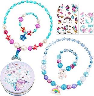 串珠项链和手链适合女孩独角兽美人鱼彩虹星星吊坠彩色公主项链装扮扮扮游戏珠宝套装儿童派对礼品礼物