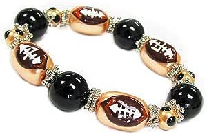 Linpeng BR-1520 Fiona 3D 手绘黄色和黑色足球玻璃珠弹力手链免费礼品袋 金色和黑色 BR-1636