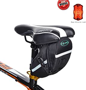 TFY 自行车马鞍座包带附赠夜自行车尾灯,适用于自行车维修工具、智能手机及配件、钱包等