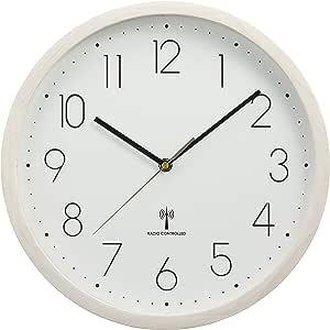 IRIS PLAZA爱丽思 天然木材 挂钟 电波钟表 32厘米 OTI 米白色 32㎝ OTI-06