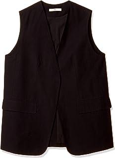 ATSUGI 厚木 拉链夹克 【Cl】丝绸混纺长背心 女士 黑色 日本 F (FREE サイズ)