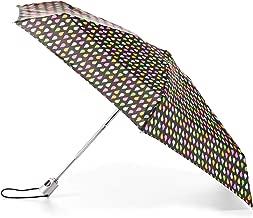 TOTES NeverWet 自动打开迷你钱包雨伞,99.06 厘米覆盖,颜色:黑色/多色圆点