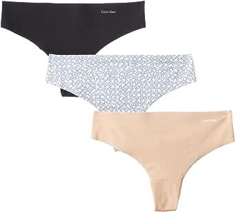 Calvin Klein 女式3件装 invisibles 丁字裤 Black/Light Caramel/Organic Skin Print Large