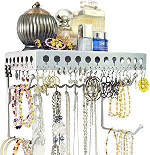Mango Steam Wall-mounted Jewelry Organizer Shelf (10 Inch, Silver)