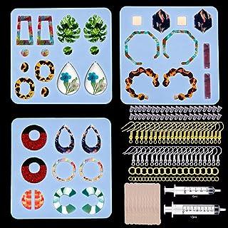 3 件树脂耳环模具,Gdaya 复古吊坠风格树脂珠宝硅胶模具包括耳环挂钩、跳环、时尚耳环环环氧树脂模具,适用于 DIY 女士耳环,珠宝制作