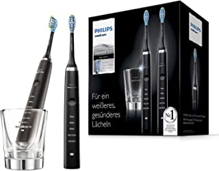 Philips 飞利浦 Sonicare DiamondClean 清洁电动牙刷HX9357/87,2支装,5种清洁程序, 采用声波技术,带计时器和玻璃杯,黑色