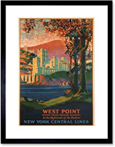 TRAVEL WEST POINT MILITARY 复古艺术画画图片 F12X1542 黑色 12-Inches x 16-Inches F12X1542_BL