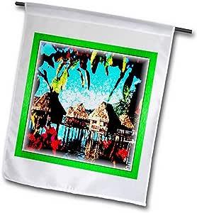 3dRose fl_36530_1 塔希提度假花园旗,30.48 x 45.72 cm