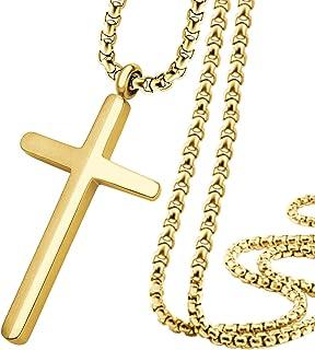 555Jewelry 不锈钢十字架项链男女通用,40.64-60.96cm 盒子链
