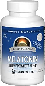 Source Naturals Melatonin 3 mg Vegetarian Capsules, for Occasional Sleeplessness, 120 Vegetarian Capsules