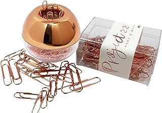 PROJECT22 玫瑰金办公桌配件包 | 圆形纸夹夹带磁盖,170 个各式玫瑰金回形针带夹收纳盒和玫瑰金水晶圆珠笔