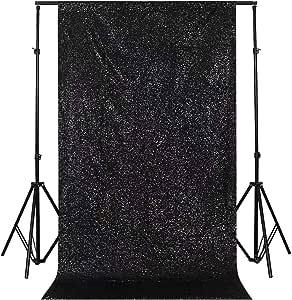 GFCC 闪亮玫瑰金闪耀亮片迷人背景婚礼派对装饰品 - 121.92 cm x 212.52 cm 黑色 5ftx9ft 0730 black 5x9ft