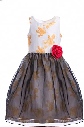 Emma RILEY 女童无袖印花花卉薄纱公主派对连衣裙,玫瑰花花朵