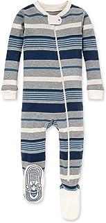 Burt's Bees 婴儿男孩中性睡衣,前拉链防滑连脚睡衣,*棉,蓝色多条纹,24 个月
