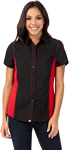 Chef Works CSWC-BRM-L Women Universal Contrast Shirt, Black/Red, Large