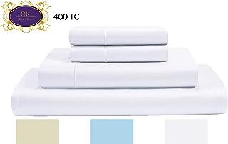 400 支 * 纯棉床单,长纤维棉,缎纹编织,光学白色,中号双人床床单 4 件套床,毛线下摆,透气,柔软丝滑,适合 38.10 厘米袋深的床垫 白色(Optical White) 两个