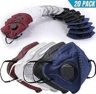 BC N95 Particulate Respirator Mask 20 个装一次性防尘面罩带吸入阀,用于建筑清洁空气污染*木工园艺砂 LF114Multicolor