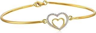 Amazon Collection 亚马逊自有品牌 镀双色 18K黄金&铑 925纯银 心形图案时尚手镯