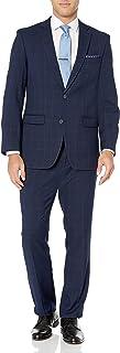 Perry Ellis 男式两件套修身西装 蓝色(Blue Plaid) 42 Short