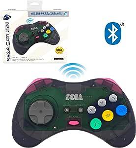 Retro-Bit 官方 Sega Saturn 蓝牙控制器 8 键式拱门垫,适用于 Nintendo Switch、PC、Mac、Amazon Fire TV、Steam - 石灰