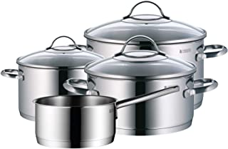 WMF 锅套装 4 件套 Provence Plus 倾倒边缘玻璃杯盖 Cromargan 不锈钢抛光 适用于感应炉灶洗碗机