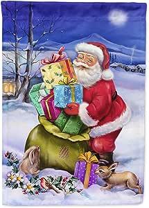 Caroline's Treasures APH6556CHF 圣诞老人带兔子帆布屋旗,大号,多色
