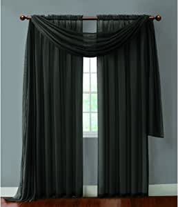 Victoria Classics INF-PNL-5584-IN-BK Infinity Sheer Panel, 55 by 84-inch, Black