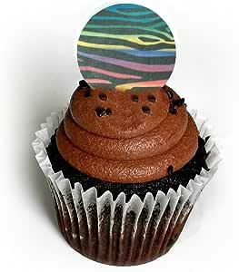 Zebra 彩虹动物印花 3.81 cm 乐福纸上装装饰甜点蛋糕 24 件装