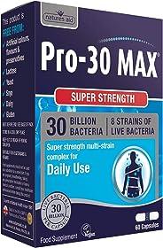 Natures Aid 强力 Pro-30 活性益生菌胶囊(300 亿活性菌,8 种*菌株,60 粒胶囊,纯素食协认证,英国制造)