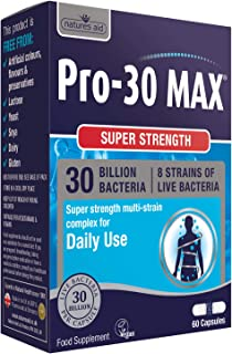 Natures Aid 強力 Pro-30 活性益生菌膠囊(300 億活性菌,8 種*菌株,60 粒膠囊,純素食協認證,英國制造)