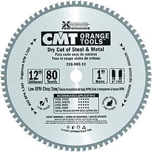 CMT 226.080.12 工业干型钢锯片,30.48 厘米 x 203.2 厘米 牙齿 8° FWF 研磨,带 2.54 厘米孔
