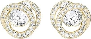施华洛世奇代白色玫瑰镀金耳环