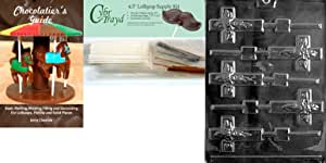 Cybrtrayd Cross Lolly Chocolate Candy Mold with Chocolatier's Bundle, 50 Sticks, 50 Cello Bags, 50 Gold/Silver Twist Ties and Chocolatier's Guide