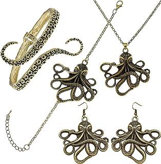 RechicGu 章鱼首饰套装 海洋生物 Kraken 触手项链耳环手镯 脚链 自然包装 渔夫 鱼礼品