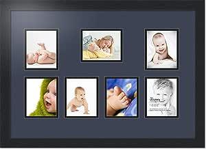 ArtToFrames 拼贴照片框双垫,带 7 个开口和黑色缎框。 Blue Jay 7-4x5 Double-Multimat-334-586/89-FRBW26079