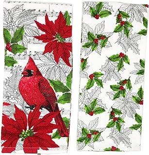 COCO 圣诞红雀和品红带音乐笔记厨房毛巾套装,节日毛巾套装(2 件)