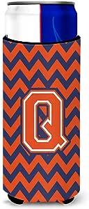Letter Q Chevron 橙色蓝色*瓶饮料隔热器 Hugger CJ1042-QLITERK