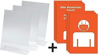 Sigel TA210 桌面支架 倾斜 适用于 A4 für DIN A4 mit Hinweis Mundschutz 3 Stück