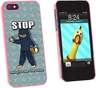 Graphics and More Ninja Cat Funny - Assassin Tuna Fish Snap-On Hard Protective Case for Apple iPhone 5/5s - Non-Retail Packaging - Pink