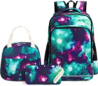 CAMTOP 青少年背包适合学生男孩女孩书包套装旅行背包 28 Galaxy-Green One_Size