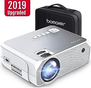 Bomaker 迷你投影仪,4000 Lux,50,000 小时;支持 1080P,250 英寸显示屏,便携式高清 LED 投影仪,带便携盒,兼容电视棒,PS4,HDMI,VGA,TF,AV 和 USB